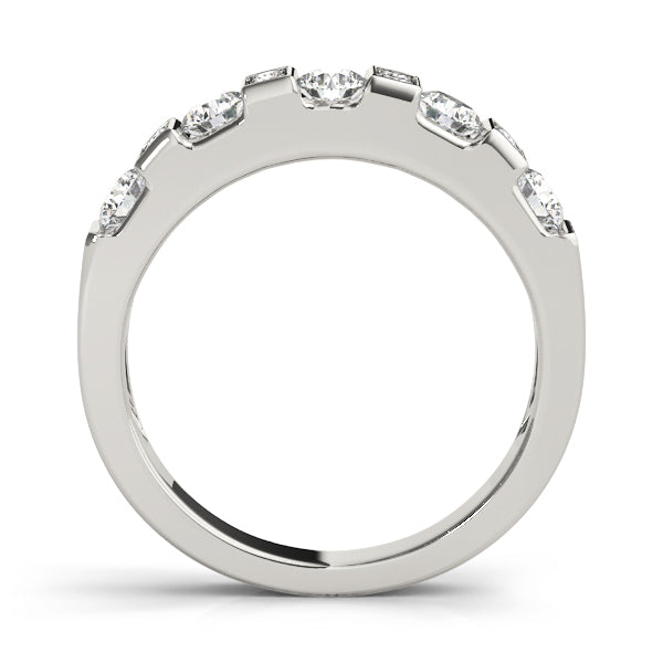 Rectangle and Round Retro Inspired Wedding Ring - Michael E. Minden Diamond Jewelers