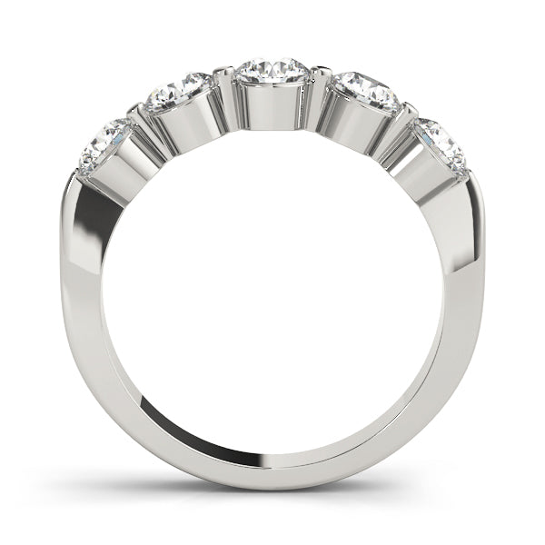 Five Stone Shared Prong-Set Wedding Ring - Michael E. Minden Diamond Jewelers