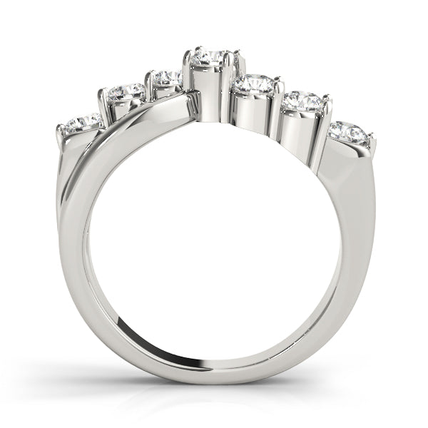 Bypass Swirl Prong-Set Wedding Ring - Michael E. Minden Diamond Jewelers
