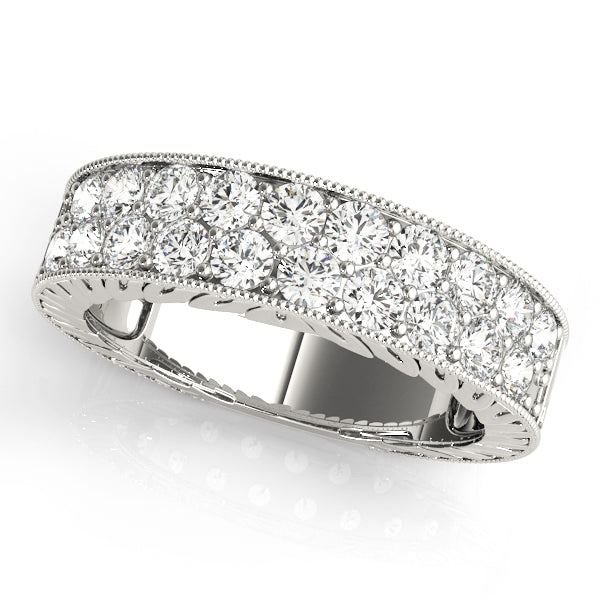 Double Row Milgrain Detailed Pave Wedding Ring - Michael E. Minden Diamond Jewelers