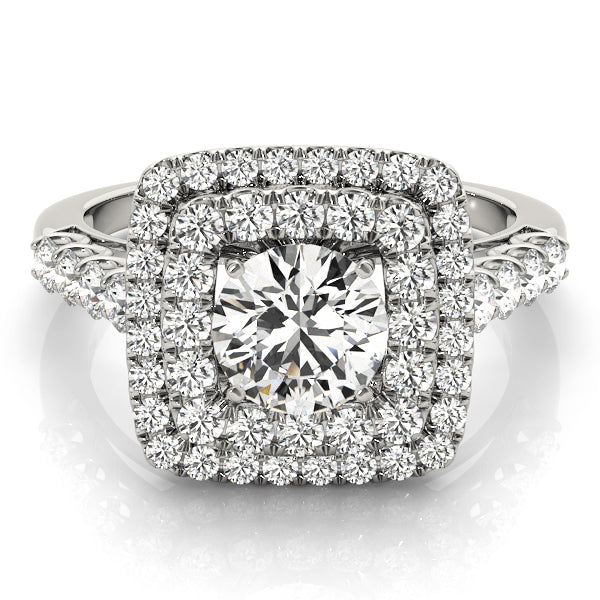 Round Cut Double Square Halo Engagement Ring - Michael E. Minden Diamond Jewelers