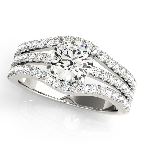 Round Cut Three Row Engagement Ring - Michael E. Minden Diamond Jewelers