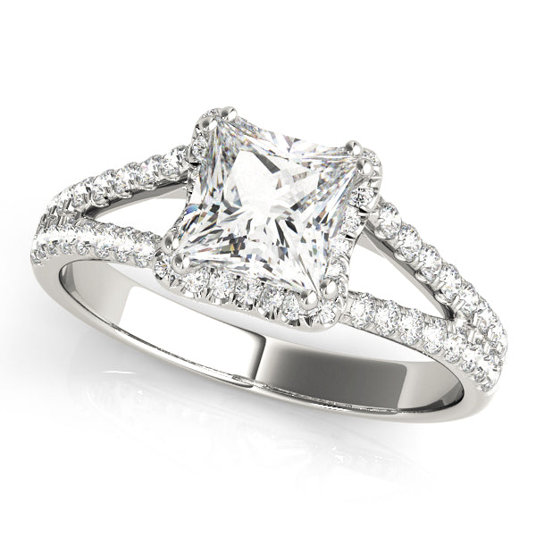 Princess Cut Halo Split Shank Engagement Ring - Michael E. Minden Diamond Jewelers