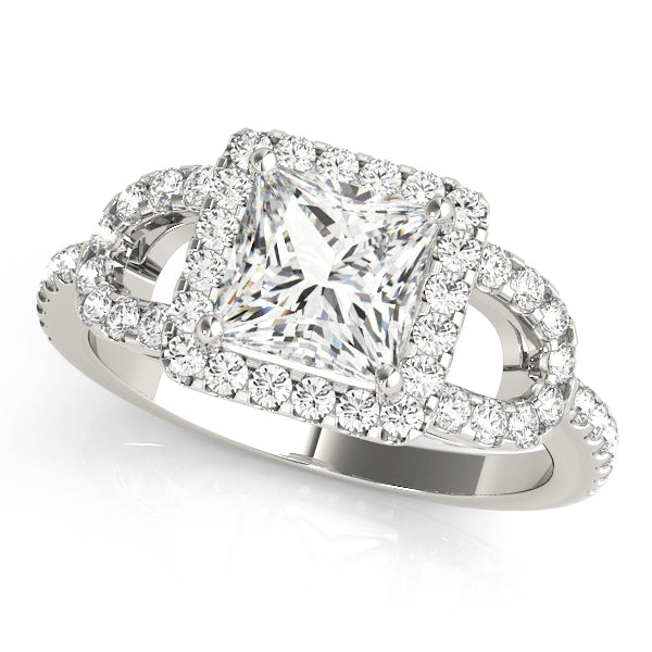 Princess Cut Halo Curved Split Shank Engagement Ring - Michael E. Minden Diamond Jewelers