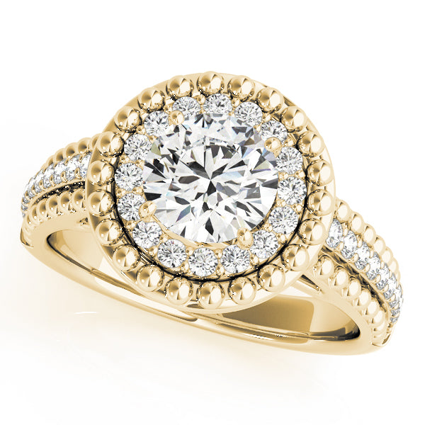 Round Double Halo Bead Detail Engagement Ring - Michael E. Minden Diamond Jewelers