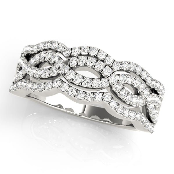 Two-Tone Center Twist Detail Anniversary Ring - Michael E. Minden Diamond Jewelers