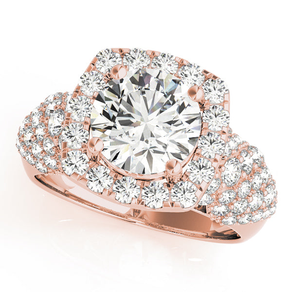 Round Cut Square Halo Multi-Stone Detail Engagement Ring - Michael E. Minden Diamond Jewelers
