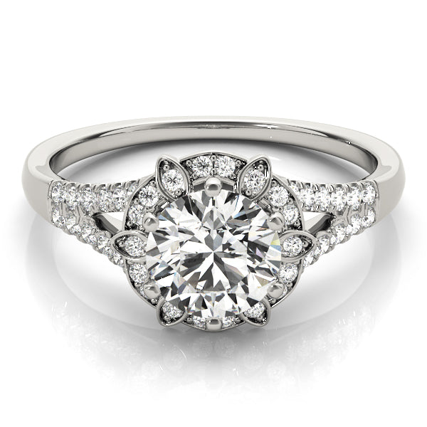 Round Cut Floral Inspired Halo Engagement Ring - Michael E. Minden Diamond Jewelers