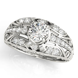 Round Cut Vintage Style Wide Set Engagement Ring - Michael E. Minden Diamond Jewelers