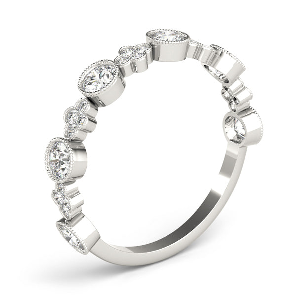 Bezel-Set Alternating Design Wedding Ring - Michael E. Minden Diamond Jewelers