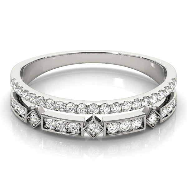 Geometric Stack Split Shank Wedding Ring - Michael E. Minden Diamond Jewelers