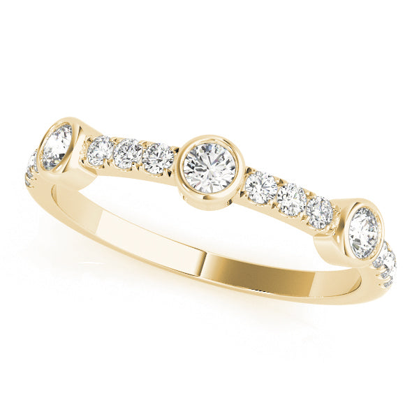 Prong-Set with Three Bezel-Set Detail Wedding Ring - Michael E. Minden Diamond Jewelers