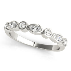Bezel-Set Alternating Wedding Ring - Michael E. Minden Diamond Jewelers