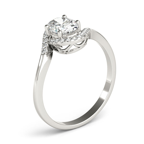 Oval Wrapped Halo Engagement Ring - Michael E. Minden Diamond Jewelers