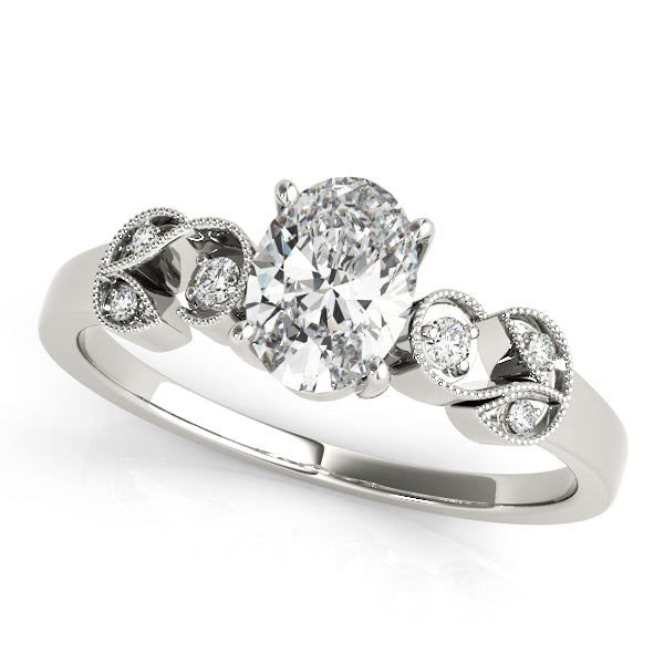 Oval Shape Milgrain Swirl Engagement Ring - Michael E. Minden Diamond Jewelers