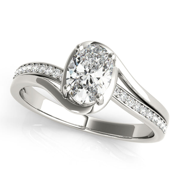 Oval Wrapped Halo with Diamond Side Accent Engagement Ring - Michael E. Minden Diamond Jewelers