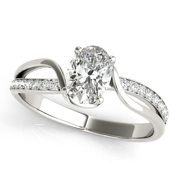 Oval Shape Diamond Twist Engagement Ring - Michael E. Minden Diamond Jewelers