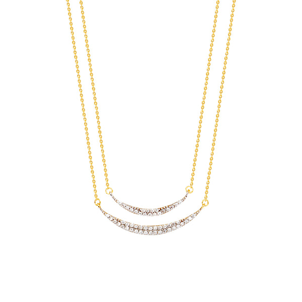 Duo CZ Crescent Necklace - Michael E. Minden Diamond Jewelers