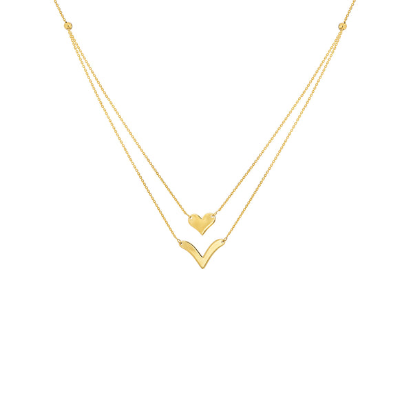 "Duo Heart and ""V"" Necklace - Michael E. Minden Diamond Jewelers"