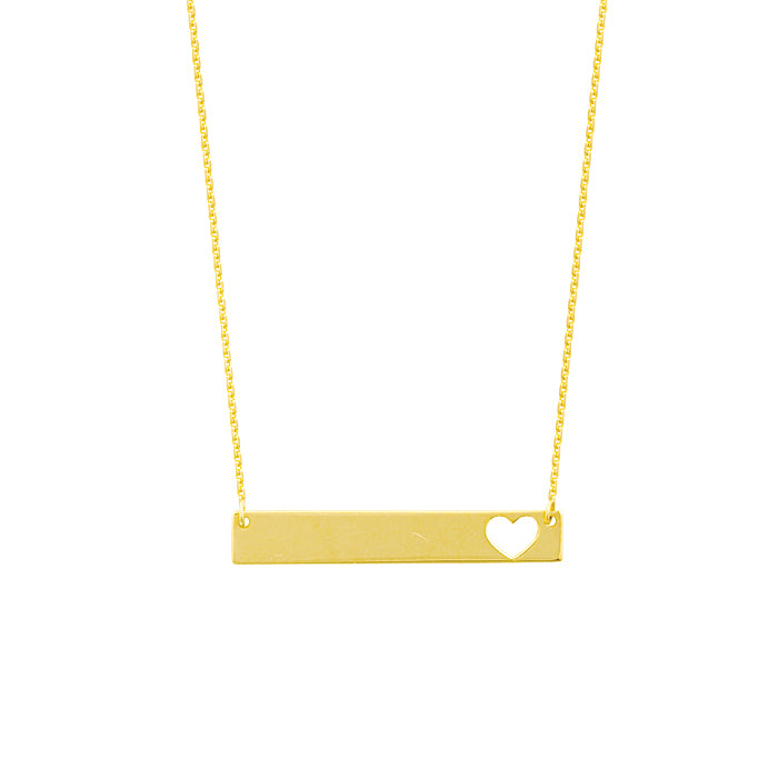 Mini Bar Cutout Heart Necklace - Michael E. Minden Diamond Jewelers