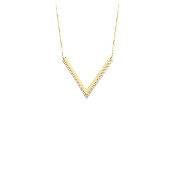 "Large CZ ""V"" Necklace - Michael E. Minden Diamond Jewelers"