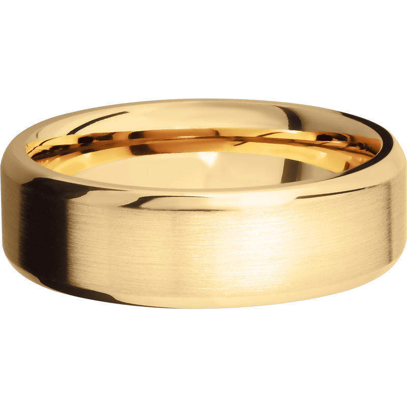 Beveled Comfort Fit Men's Wedding Ring with Satin Finish - Michael E. Minden Diamond Jewelers