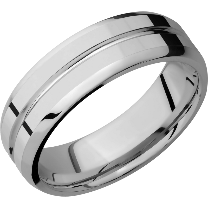 Titanium Men's Wedding Ring with Beveled Center Accent - Michael E. Minden Diamond Jewelers