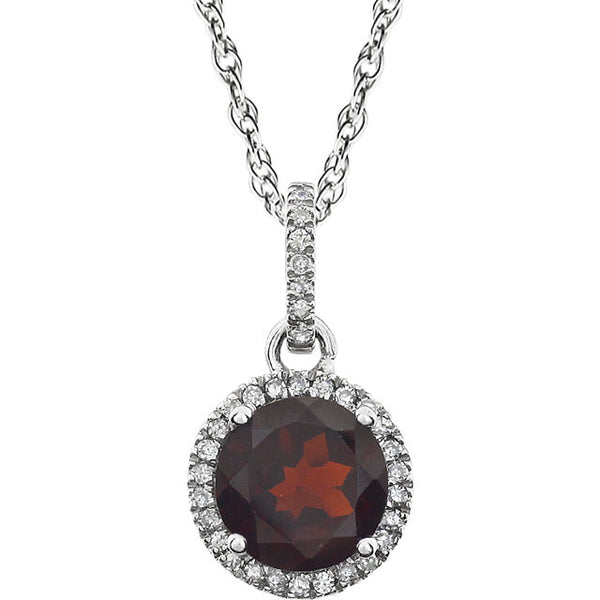 Petite Diamond Halo Birthstone Necklace - Michael E. Minden Diamond Jewelers