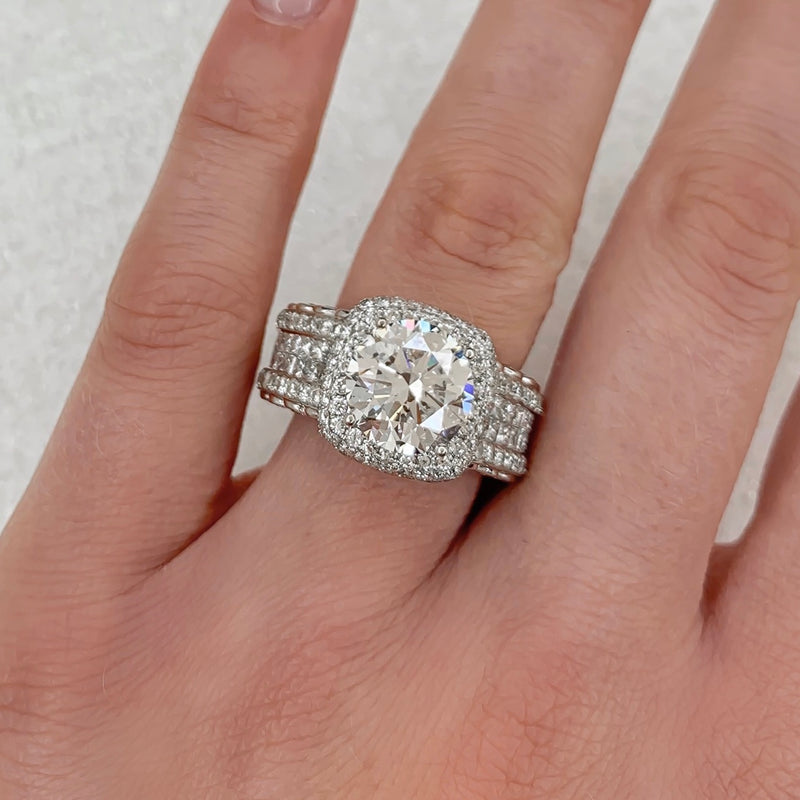 White Gold 9.50ctw Round Brilliant Diamond Ring - Michael E. Minden Diamond Jewelers