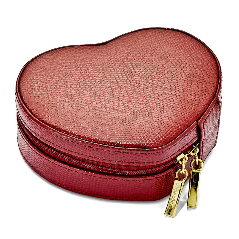 Red Leather Heart Shape Jewelry Case - Michael E. Minden Diamond Jewelers