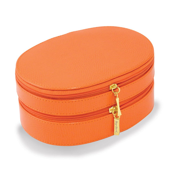 Orange Leather Double Zipper Jewelry Case - Michael E. Minden Diamond Jewelers