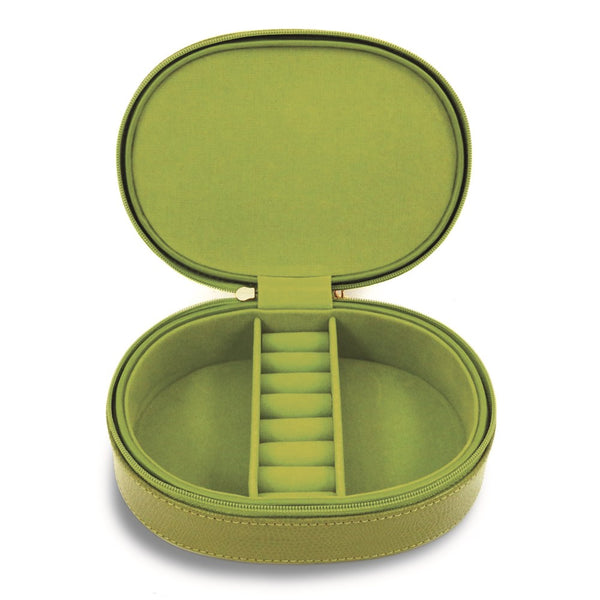 Lime Green Leather Double Zipper Jewelry Case - Michael E. Minden Diamond Jewelers