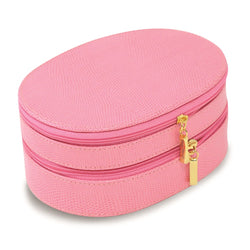 Pink Leather Double Zipper Jewelry Case - Michael E. Minden Diamond Jewelers