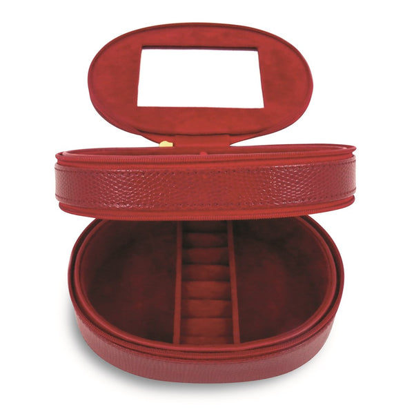 Red Leather Double Zipper Jewelry Case - Michael E. Minden Diamond Jewelers