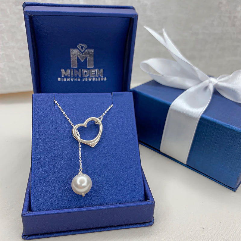 Open Heart Pearl Lariat Necklace - Michael E. Minden Diamond Jewelers
