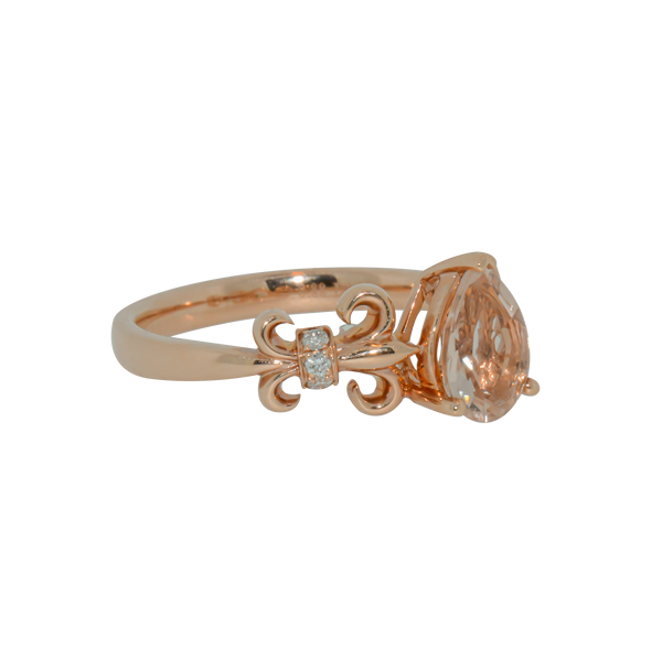 Rose Gold Fleur-de-lis Ring with Pear Shaped Morganite Anniversary Ring - Michael E. Minden Diamond Jewelers