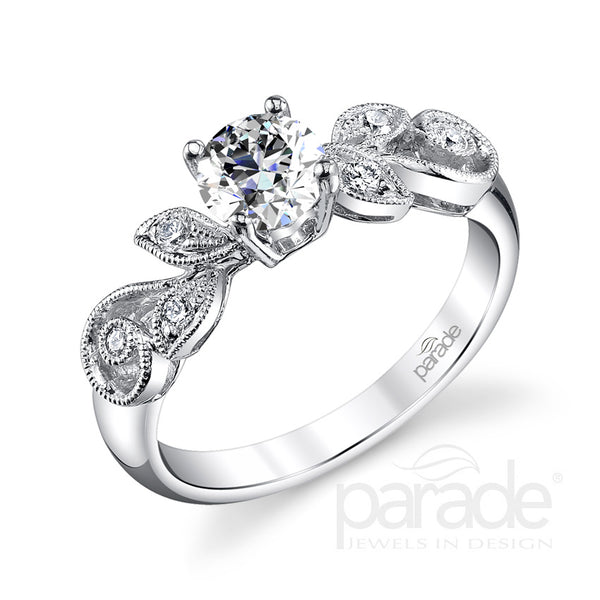 Round Cut Leaf Inspired Engagement Ring - Michael E. Minden Diamond Jewelers