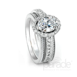 Oval Halo Twisted Rope Engagement Ring - Michael E. Minden Diamond Jewelers