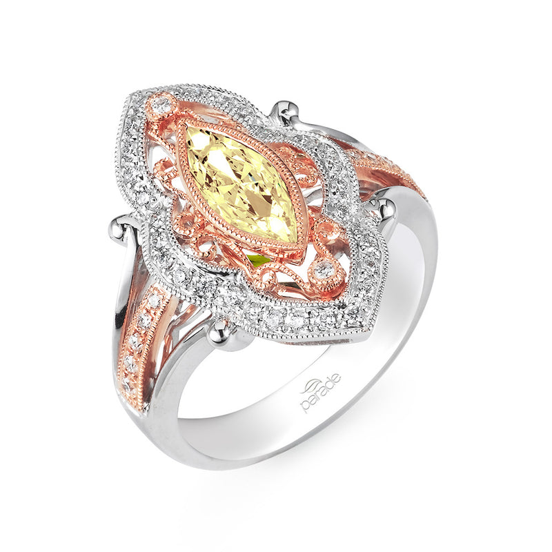 Colored Diamond Marquise Two-Tone Halo Engagement Ring - Michael E. Minden Diamond Jewelers