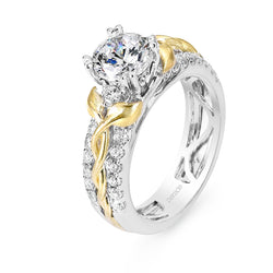 Round Cut Two-Tone Leaf Side Engagement Ring - Michael E. Minden Diamond Jewelers