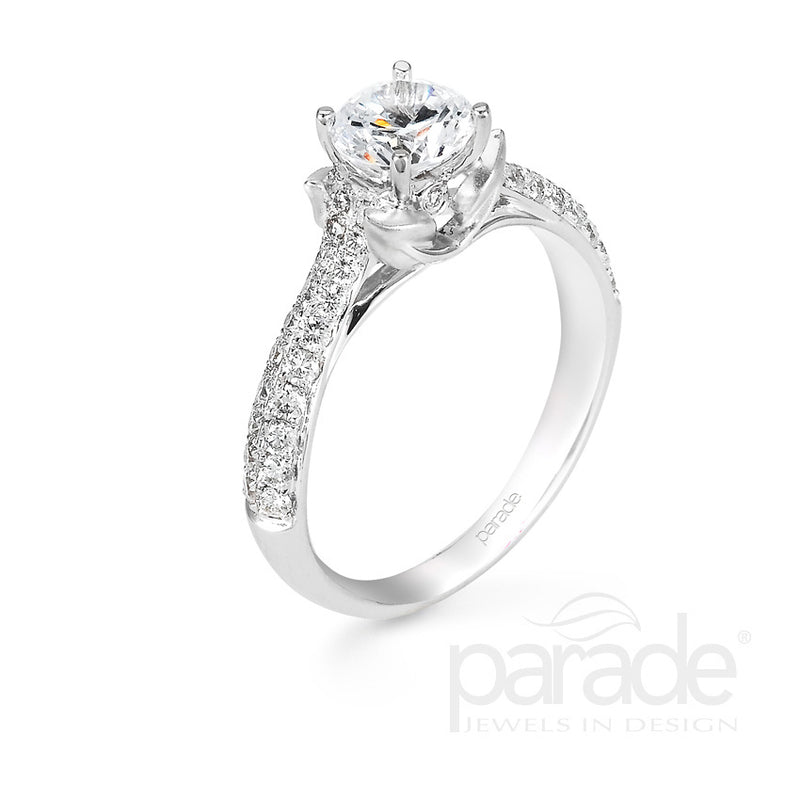 Round Cut Leaf Mounted Engagement Ring - Michael E. Minden Diamond Jewelers