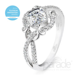 Platinum Cushion Cut Wrapped Halo Engagement Ring - Michael E. Minden Diamond Jewelers