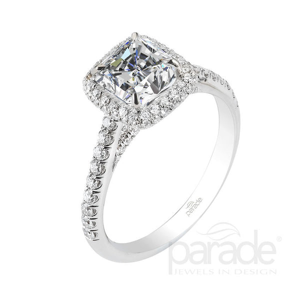Cushion Cut Halo Engagement Ring - Michael E. Minden Diamond Jewelers