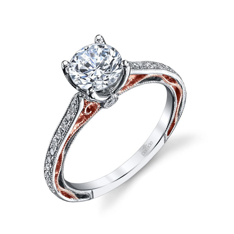 Two-Tone Pave Engagement Ring - Michael E. Minden Diamond Jewelers