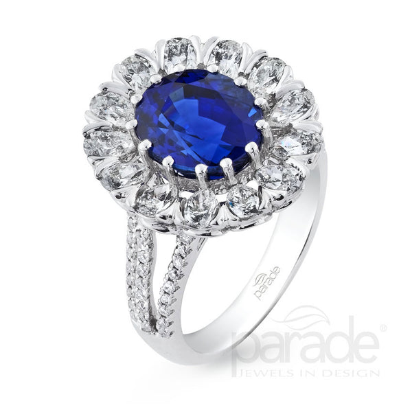 Colored Stone Floral Inspired Halo Engagement Ring - Michael E. Minden Diamond Jewelers