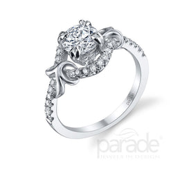 Round Cut Nature Inspired Wide Halo Engagement Ring - Michael E. Minden Diamond Jewelers