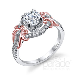 Round Vine Wrapped Halo Engagement Ring - Michael E. Minden Diamond Jewelers