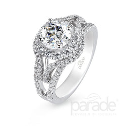 Round Double Wrapped Halo Engagement Ring - Michael E. Minden Diamond Jewelers