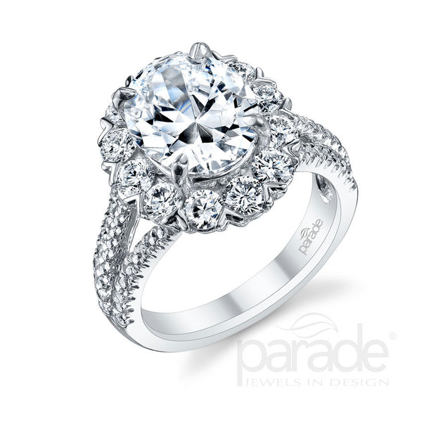 Oval Statement Halo Split Shank Engagement Ring - Michael E. Minden Diamond Jewelers