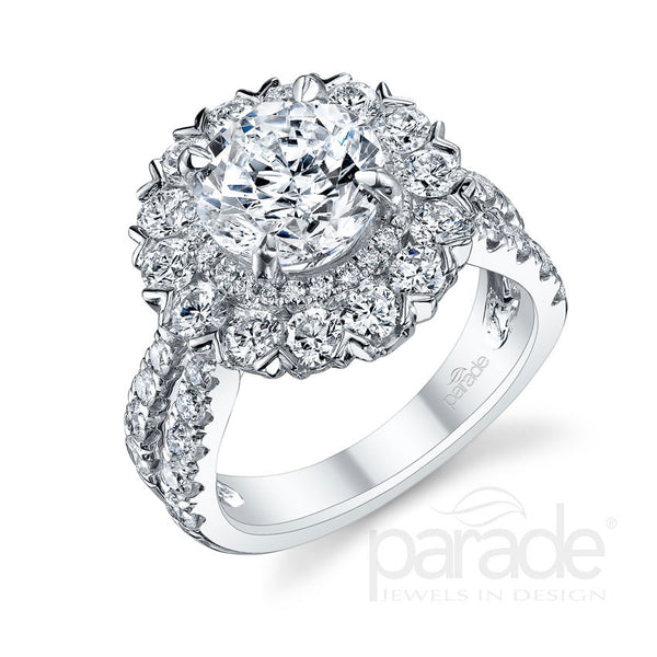 Round Ascending Double Halo Engagement Ring - Michael E. Minden Diamond Jewelers